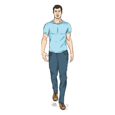 t shirt model: Vector Single Sketch Illustration - Fashion Male Model in Trousers and T-Shirt Illustration
