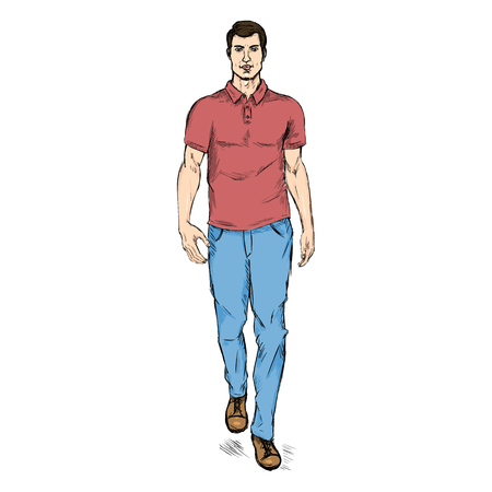he is beautiful: Vector Single Sketch Illustration - Fashion Male Model in Trousers and Polo Shirt