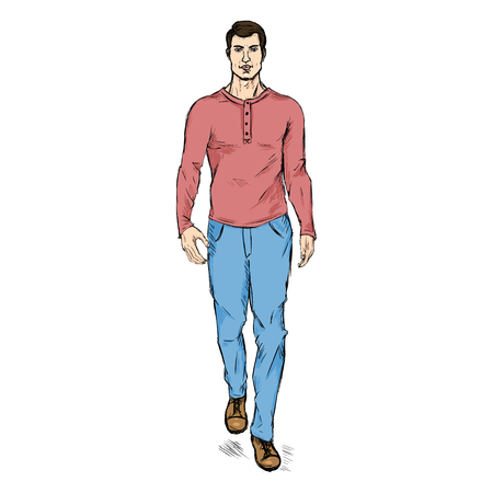 he is beautiful: Vector Single Sketch Illustration - Fashion Male Model in Trousers and Longsleeve Shirt Illustration