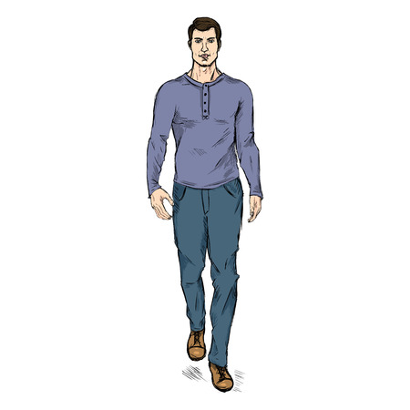 Vector Single Sketch Illustration - Fashion Male Model in Trousers and Longsleeve Shirt Illustration