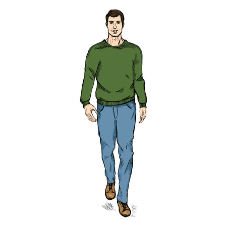 he is beautiful: Vector Single Sketch Illustration - Fashion Male Model in Trousers and Sweatshirt Illustration
