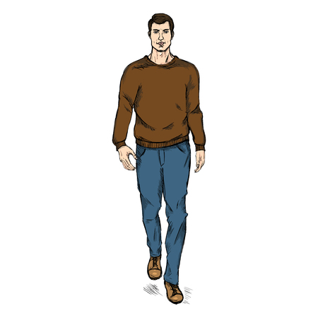 man full body: Vector Single Sketch Illustration - Fashion Male Model in Trousers and Sweatshirt Illustration