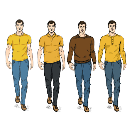he is beautiful: Vector Set of Sketch Fashion Male Models in Casual Wear Illustration