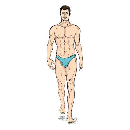 Vector Sketch Fashion Male Model in Underwear