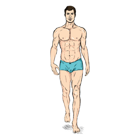 Vector Sketch Fashion Male Model in Underwear