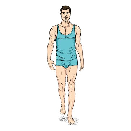 Vector SketchFashion Male Model in Underwear