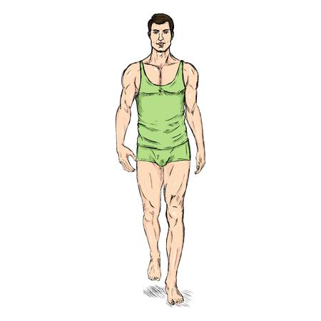 Vector SketchFashion Male Model in Underwear