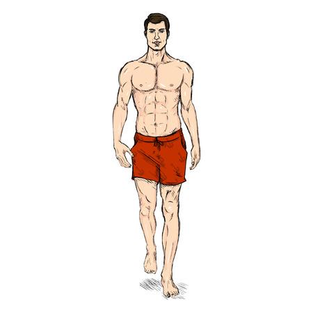 ketch vector modelo de moda masculina en pantalones cortos azules de la playa