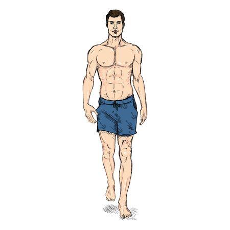 Vector ketch Fashion Male Model in Blue Beach Shorts