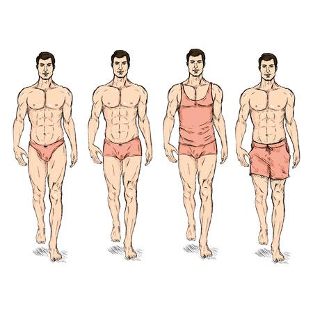 boy underwear: Vector Set of Sketch Fashion Male Models. Underwear. Illustration