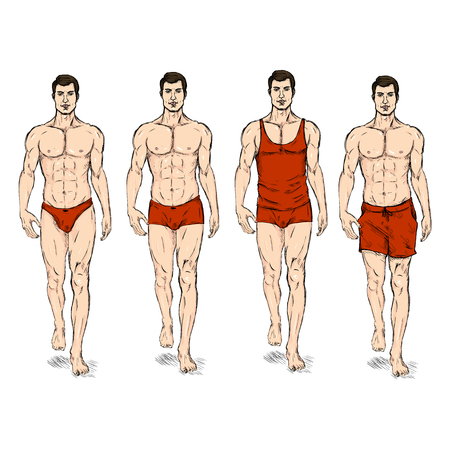 Vector Set of Sketch Fashion Male Models. Underwear. Illustration