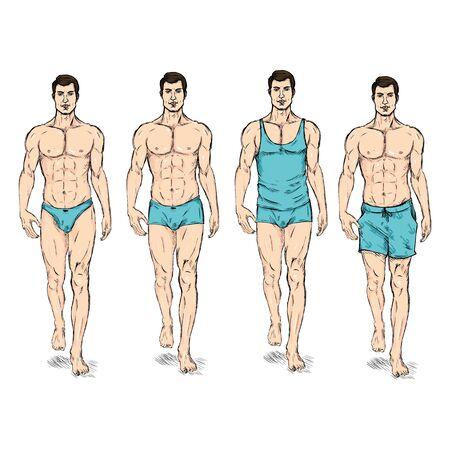 Vector Set of Sketch Fashion Male Models. Underwear. Illustration