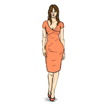 mode: Vector Sketch Fashion Female Model in Short Dress