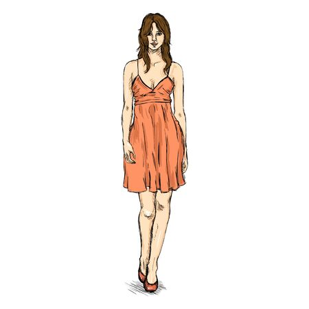 Vector Sketch Fashion Female Model in Short Dress