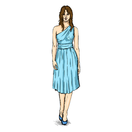 Vector Sketch Fashion Female Model in Dress.