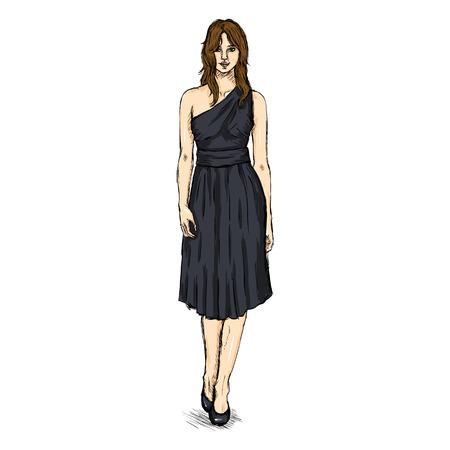 Vector Sketch Fashion Female Model in Dress.