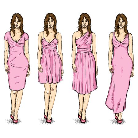 Vector Set of Sketch Female Fashion Models in Dress.