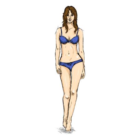Vector Sketch Fashion Female Model in Underwear.