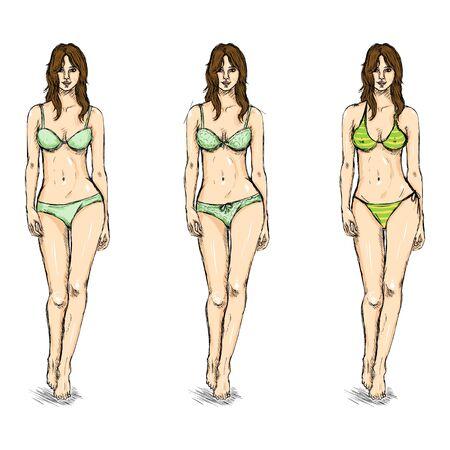 women body: Vector Set of Sketch Female Models. Underwear.