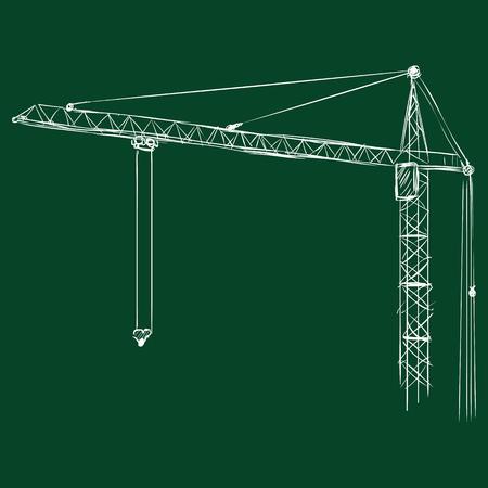 jenny: Vector Chalk Building Tower Crane