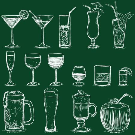 Vector Set of Chalk Cocktails and Alcohol Drinks on Dark Green Background