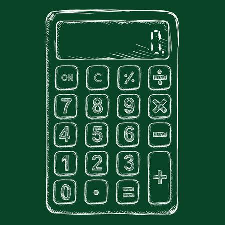 algebra calculator: Vector Chalk Sketch Calculator on Dark Green Background Illustration