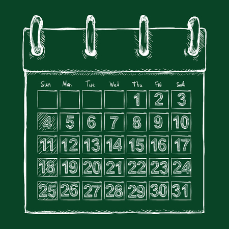 looseleaf: Vector Chalk Sketch Loose-leaf Calendar on Dark Green Background
