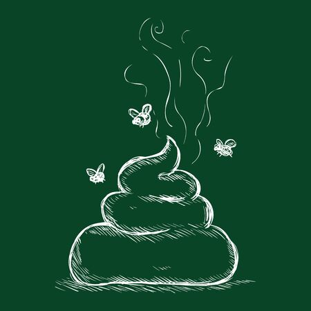 Vector Chalk Illustration - Shit. Bunch of Crap with Flies on Dark Green Background