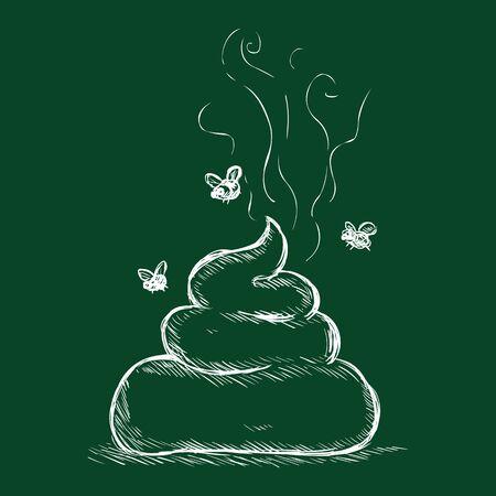 rudeness: Vector Chalk Illustration - Shit. Bunch of Crap with Flies on Dark Green Background