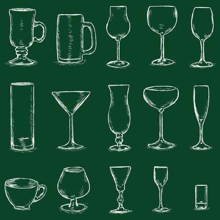 champagne flute: Vector Set of Chalk Sketch Stemware on Dark Green Background