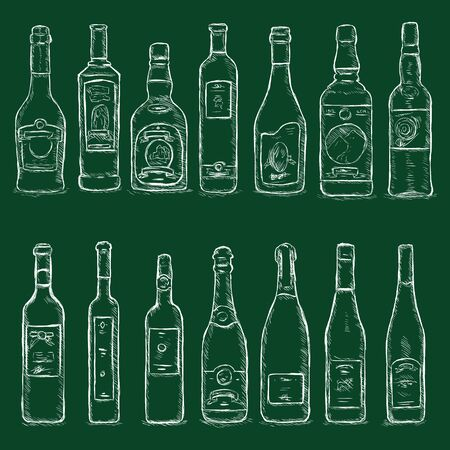 Vector Set of Chalk Sketch Bottles on Dark Green Background