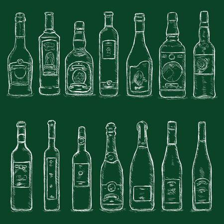 Vector Set of Chalk Sketch Bottles on Dark Green Background