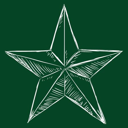 Vector Chalk Sketch Five-Pointed Star on Dark Green Background