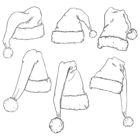 pompon: Vector Set of Different Sketch Santa Claus Hats Illustration