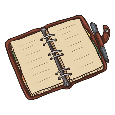 open diary: Single Cartoon Brown Leather Open Diary on White Background Illustration
