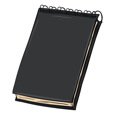 jotter: Vector Single Cartoon Black Spiral Notebook on White Background Illustration