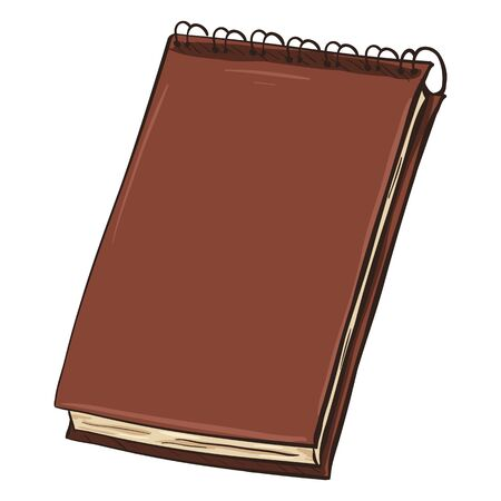 writing pad: Single Cartoon Brown Spiral Notebook on White Background Illustration