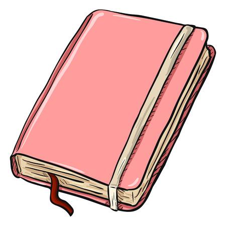 Single Cartoon Pink Diary on White Background