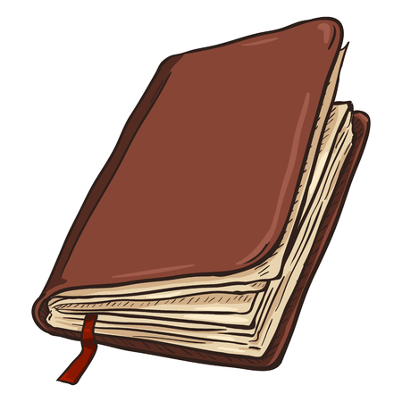 Single Cartoon Brown Leather Diary on White Background