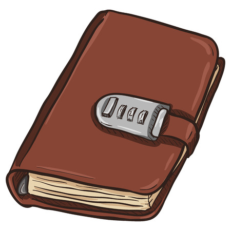 jotter: Single Cartoon Brown Leather Diary on White Background