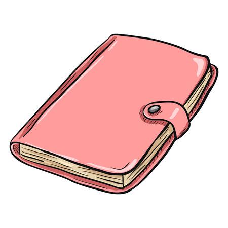 writing pad: Single Cartoon Pink Diary on White Background
