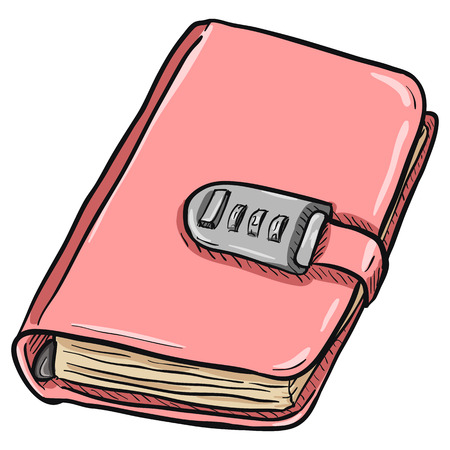 jotter: Vector Single Cartoon Pink Diary with Code Locker on White Background Illustration