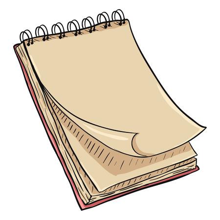 Vector Single Cartoon Pink Spiral Notebook. Illustration