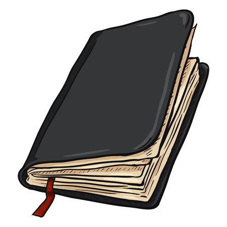 jotter: Vector Single Cartoon Black Leather Diary on White Background