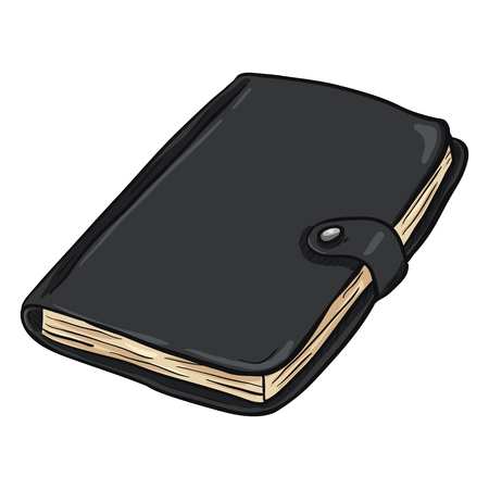 diary background: Vector Single Cartoon Black Leather Diary on White Background