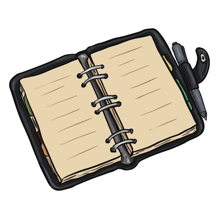 open diary: Single Cartoon Black Leather Open Diary on White Background