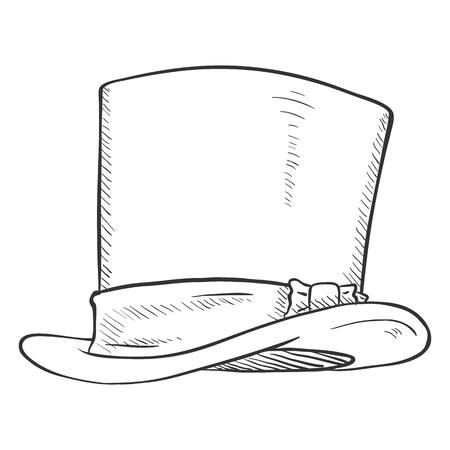 Vector Single SKetch Cylinder Hat on White Background Illustration