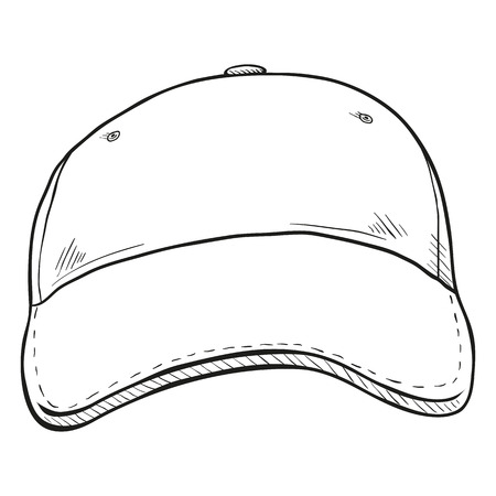 Vector Sketch Classic Blank Baseball Cap. Front View.