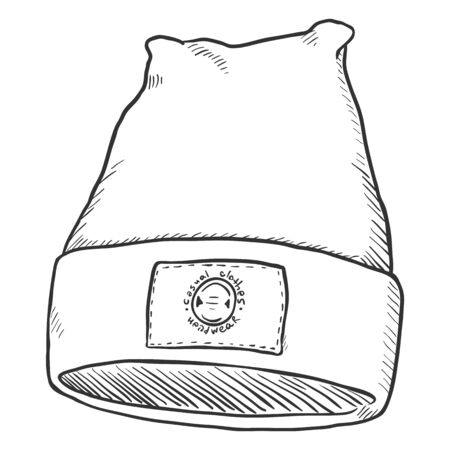 Vector Sketch Winter Textile Cap with Label. Front View. Illustration