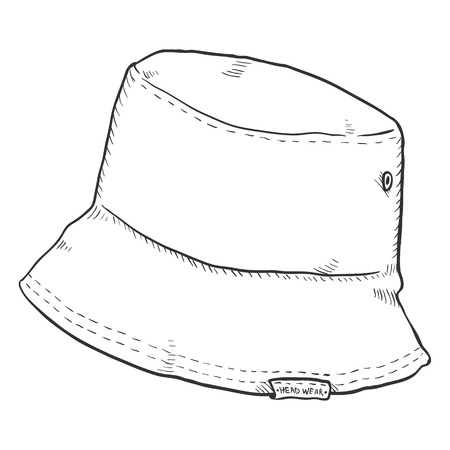 1f56815efe2 Vector Single Sketch Bucket Hat. Street Style.